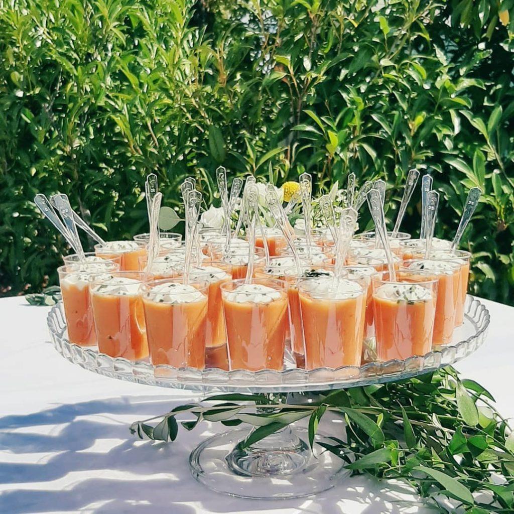 Verrines de gaspacho, buffet dolce vita